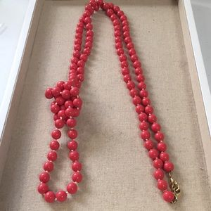 Stella and Dot La Coco rope necklace Coral beads